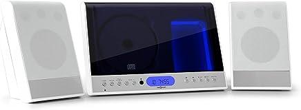 Oneconcept Vertical 90 • mini impianto stereo compatto verticale • USB MP3 • display LCD • lettore CD MP3 • AUX • VHF/FM • 20 stazioni • sleep-timer • telecomando • montaggio parete • bianco