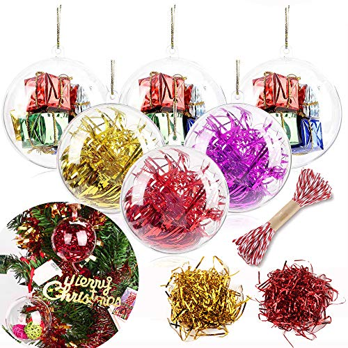 20 Pack 50mm/1.96in Christmas Ornaments Clear Balls, DIY Shatterproof Plastic Fillable Christmas Tree Decorations Transparent Ball Baubles Craft Gifts for Wedding Party Decoration