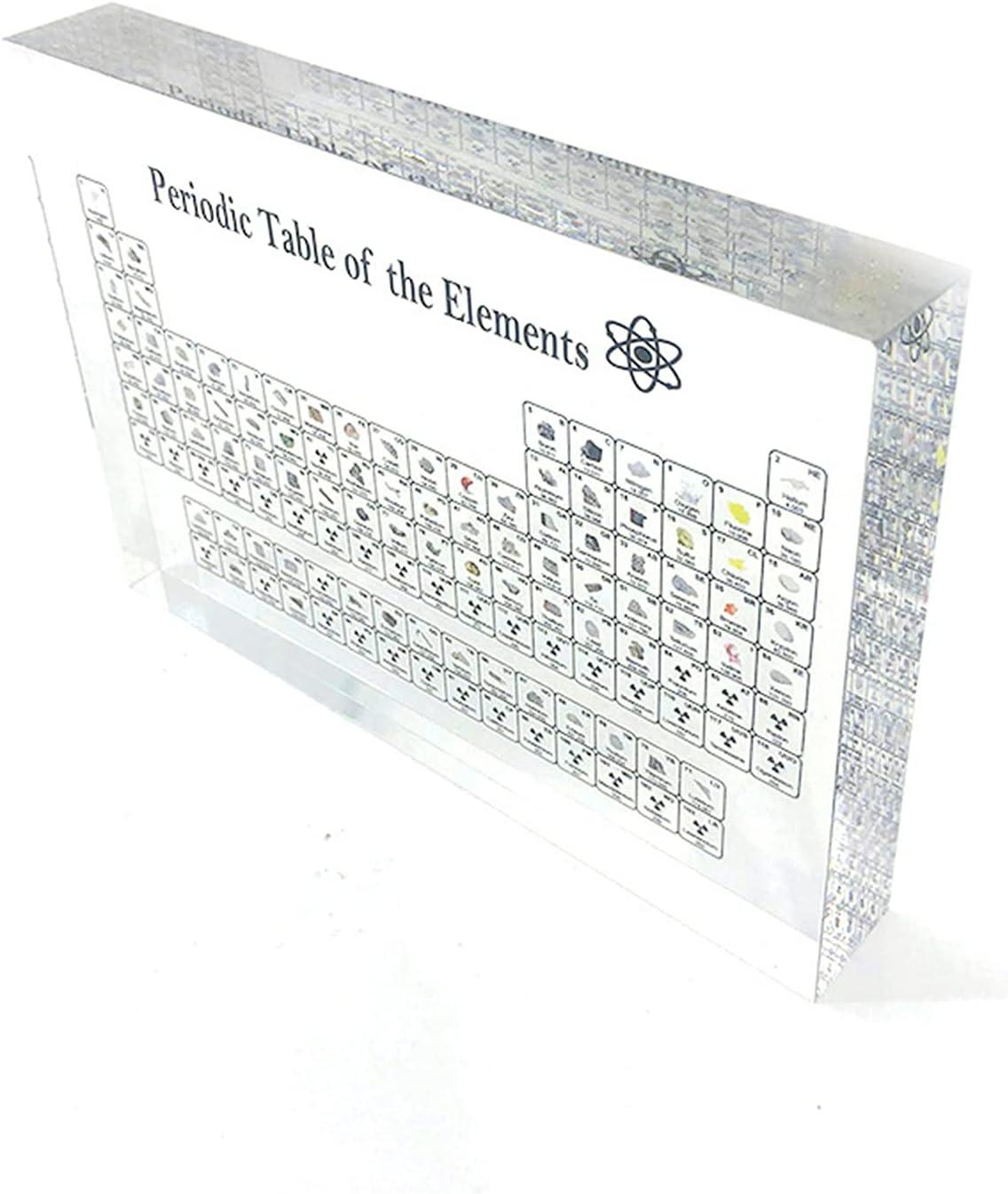 Bomoya Elemento químico Periódico Mesa y Elementos Reales acrílico visualización de Mesa periódica con Elementos Herramienta de enseñanza Estudiante Profesor Regalo Manualidades decoración