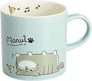 マヌルネコさん マグカップ コーヒーカップ レンジ食洗器対応 猫柄 マグ 猫 ki-113 (ブルー)