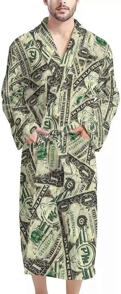 NDISTIN Fashion Bathrobes Shawl Collar Robes for Men Spa Sleepwear with Pockets