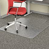 Alera Studded Chair Mat for Flat Pile Carpet, 45' x 53', with Lip, Clear