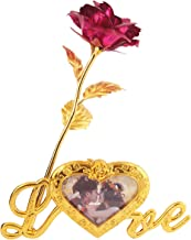 MSA JEWELS 24K Gold Plated Rose with Love Stand & Blue Velvet Box for Valentine, Birthday & Decor Gift (30X10X8 cm) (Pink)