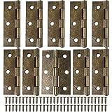 10 bisagras de puerta retro de 75 mm de bronce con 60 tornillos de bisagra antiguos, bisagras engrosadas plegables para muebles del hogar, bisagras de madera para puertas al aire libre e interiores