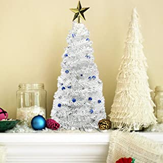 24 Inch Pop Up Christmas Tree Collapsible Artificial Pop Up White Tinsel Mini Tree Christmas Tree Family Holiday Party Decorations