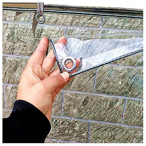 LIJINBO Lonas Impermeables Exterior,Lona Transparente, Pantalla De Vidrio De PVC Resistente Al Agua De Alta Resistencia Con Ojales, 0,3 Mm Para Pérgolas De Cenador Al Aire Libre, Protección Solar, 40