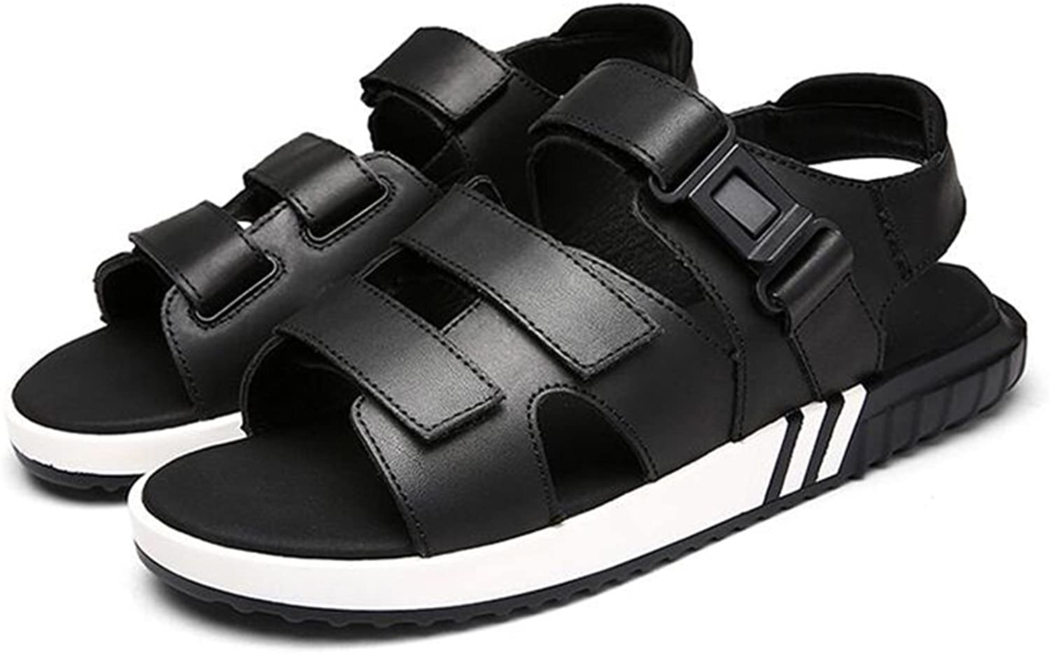 QIDI Sandals Summer Polyester Black Casual Non-slip Beach shoes (Size   EU44 UK10)