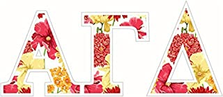 Alpha Gamma Delta Floral Greek Letter Sticker - 2.5