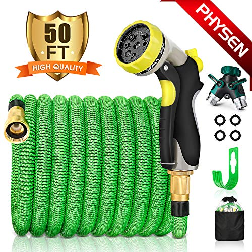 PHYSEN Garden Hose 50Ft Expandable Water Hose-Superior Triple Layer Latex Core&Latest Improved Fabric Protection&Durable Brass Connectors with 8 Way Hose Nozzles/2 Way Hose Splitter