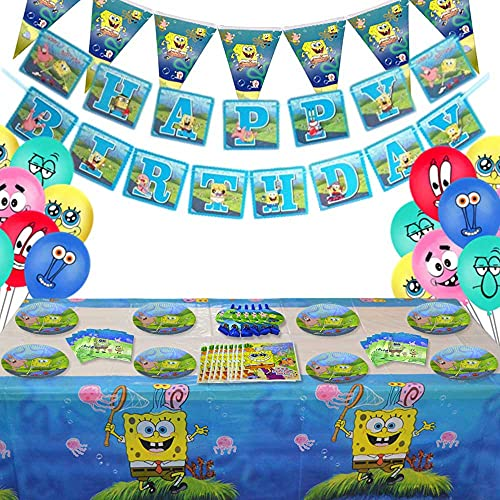 85 Pcs Spongebob Birthday Party Supplies and Decorations Set of Kids,Girls and Boys Party Suppliers Favor 1st Under8, Includes Tableware, Kit Blowing Dragon, Balloons, Table Cloth and Banner