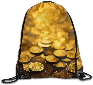 Etryrt Mochilas/Bolsas de Gimnasia,Bolsas de Cuerdas, Gold Coins Art Style Unisex Home Gym Sack Bag Sport Drawstring Backpack Bag for Men Women