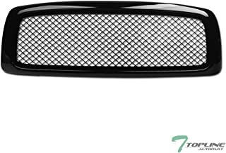 Topline Autopart Glossy Black Mesh Front Hood Bumper Grill Grille ABS For 02-05 Dodge Ram 1500/03-05 2500/3500