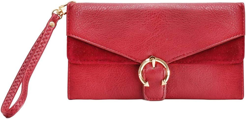 Crazychic, portafoglio donna, porta carte di credito, borsello multitasche, in pelle sintetica 27751 ROUGE