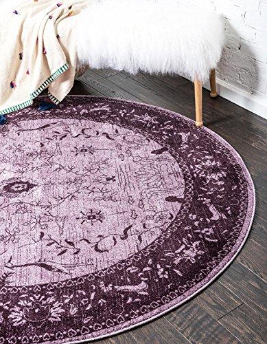Unique Loom La Jolla Collection Tone-on-Tone Traditional Purple Round Rug (6' 0 x 6' 0)