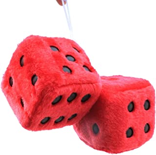 FineInno Hanging Fuzzy Dice Plush Car Pendant with Sucker Ornament Decoration Home Decoration (red)