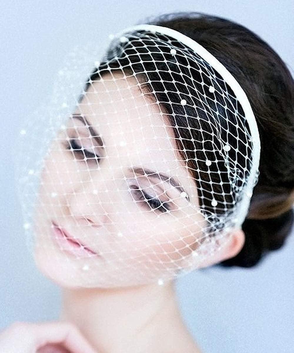 It is very popular Denifery Birdcage Ranking TOP10 Veil Headband White Pearls Lace Boud and Black