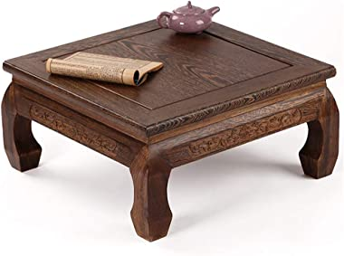 Coffee Table Solid Wood Furniture Carved Bay Window Table Wooden Square Tatami Low Table Tables (Color : Brown, Size : 49 * 5