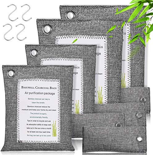 Deodoranti al Carbone di Bambù - Sacchetti Deumidificatori Armadio Antimuffa Naturale, Purificatore Aria Deodorante Assorbi Umidità Al Carbone Attivo Per Bagno Cucina Ripostiglio Auto (8 Pezzi - 800g)
