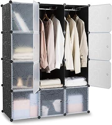 ANRIST ワードローブ 組み立て式 クローゼット 洋服掛け 衣類収納棚 簡単組み立て 四段クローゼット 大容量 省スペース