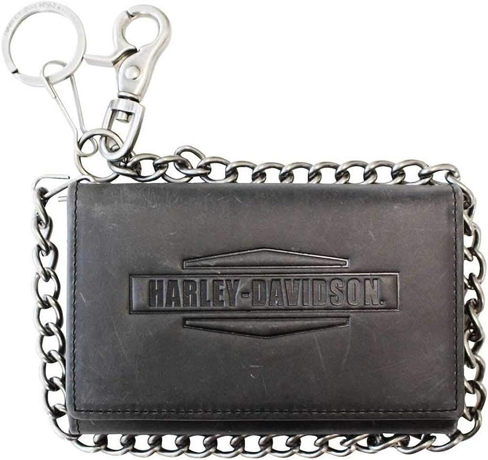 Harley-Davidson Men's Crazy Horse Biker Tri-Fold Medium Wallet MCH8416-GRYBLK