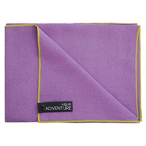 Aquis Adventure Mikrofaser-Handtuch, Violett/Grün Besatz, X-Large