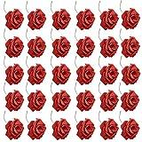 Dzsomt Flores Artificiales 30 Piezas Rosas Artificiales Realista Largo Tallo Falso Rosa Flores Rosas Artificiales Espuma Rosa Falsa Rosa Artificial para Ramos de Novia Decoracion Boda Decoración Casa