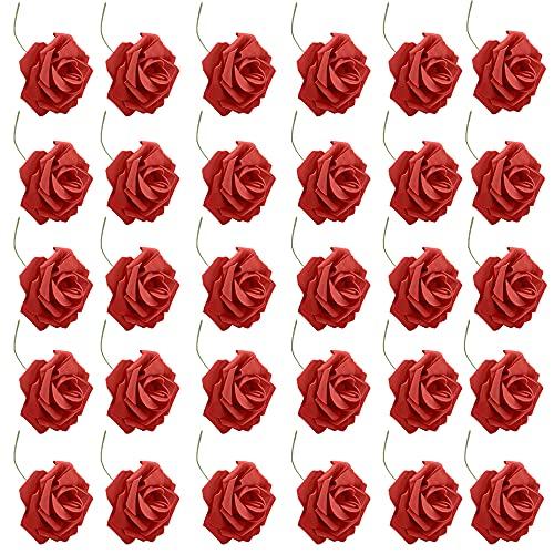 Dzsomt Fiori Artificiali per Decorazioni 30 Pezzi Artificiali Rosa Fiori Finti per Decorazioni Rose Artificiali Realistiche con Stelo Fiori Artificiali con Stelo per DIY Matrimoni Mazzi Nuziale