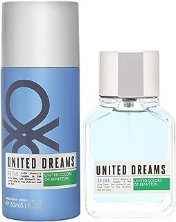 United Colors of Benetton Dreams Go Far 2 Piece Gift Set with Eau de Toilette and Deodrant for Men