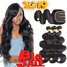 Mermaid 8A Brazilian Virgin Hair Body Wave 3 Bundles With Closure Unprocessed Human Hair Weave Natural Color (16