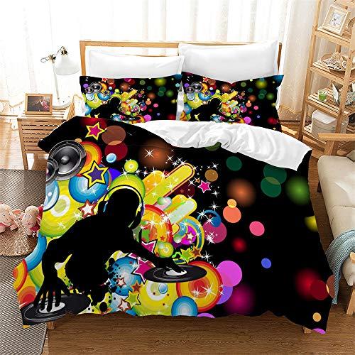 DJ De Música Y Notas Musicales Panel Multi Color All Season Funda Nórdica Suave Edredón Juego De Cama con Funda De Almohada ((180x220 cm)-Cama de 105/135,Graffiti 07)