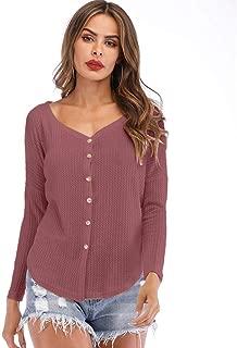 LEKODE Women's Sweatshirt Fashion Solid V-Neck Long Sleeve Sweater