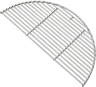 Onlyfire Barbecue Stainless Steel Half Moon Cooking Grate Grid Fits for Large Big Green Egg,Kamado Joe Classic,Pit Boss K22,Louisiana K22 and Other Kamado Grill