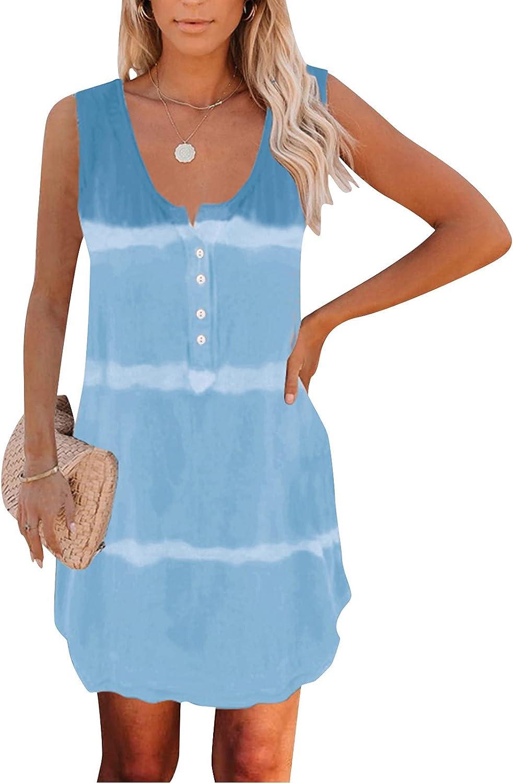 wlczzyn Women Dresses Tie-Dye Button up Tank Dress Summer Beach Sleeveless Mini Dress Casual Party T-Shirt Dresses