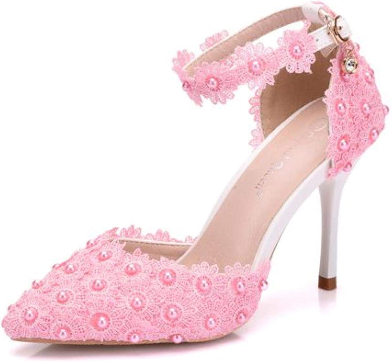 Ladies Sandals Lace Flower Pointed Stiletto Heels Satin