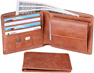 RFID Leather Mens Wallet Bifold with Coin Pocket and Removable 3 ID Window Holder Kit