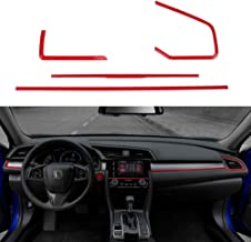 Thenice 4pcs Center Consoles Panel Stickers Dashboard Trims Strips Inner Decals for 10th Gen Honda Civic 2020 2019 2018 2017 2016 -Red