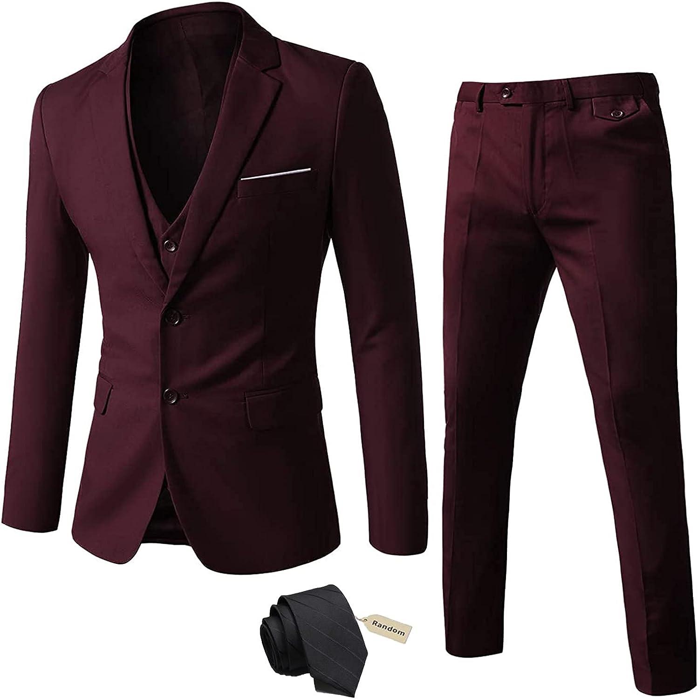 Furuyal Men's 3 Pieces Suit Set Two Button Slim Fit Wedding Prom Jacket Vest Pants with Tie