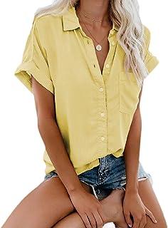 Andopa Women's Tops Pure Colour Lapel Fashion Buttoned Blouse T-Shirt