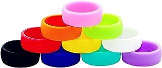 ThreeBulls 10 Pack Wedding Band Pack for Men Women Flexible Comfort Sport Love Ring Silicone Wedding Ring- Birthday or Ann...