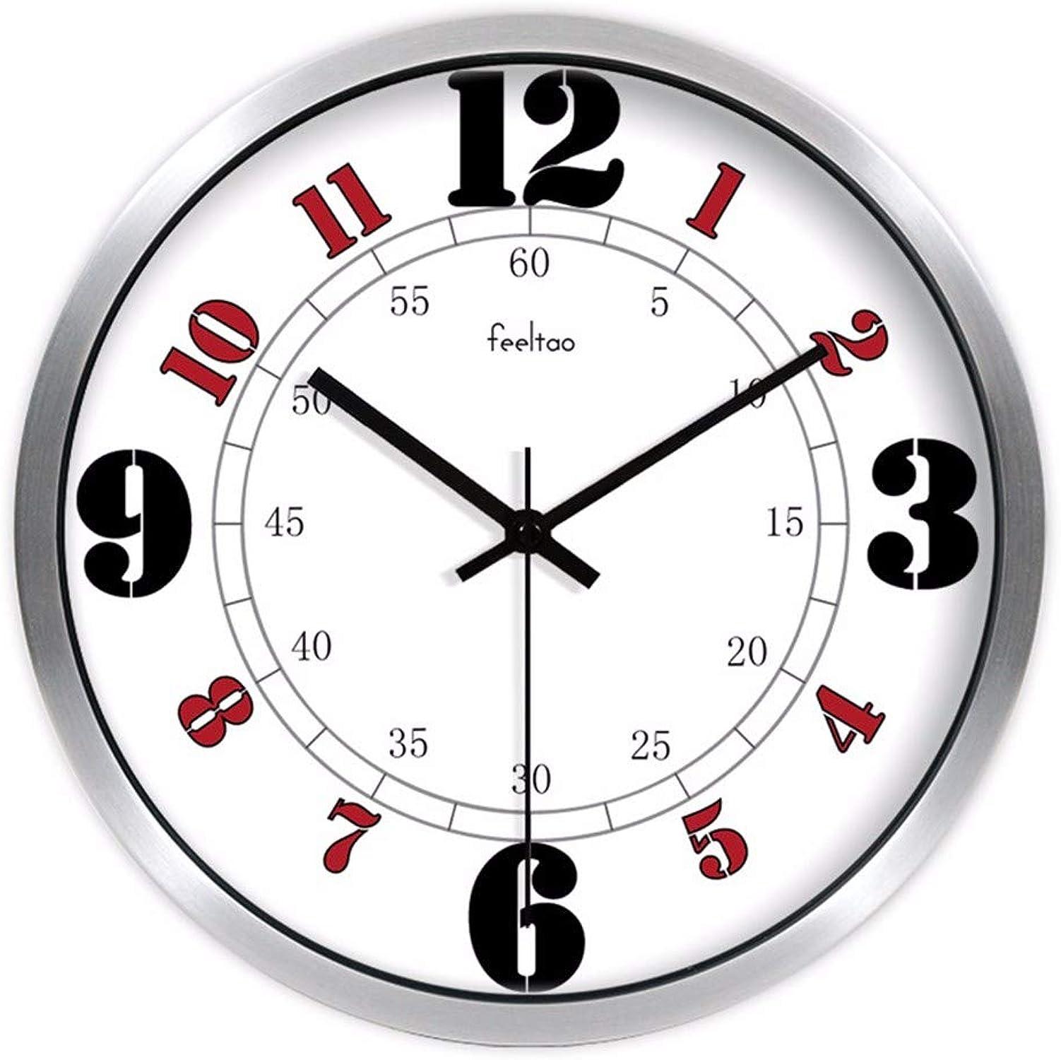 Centro comercial profesional integrado en línea. HomeClock Sala de de de Estar Reloj de Parojo Escala de Minutos Mesa Colgante Gran Oficina Digital Reloj Silencio Reloj de Cuarzo Reloj 12 Pulgadas Marco de Metal Plateado  clásico atemporal