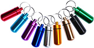 Set of 9 Waterproof Aluminum Metal Pill Box Case with Keychain - Outdoor Medicine Bottle Key Ring Small Gallipot First Aid Drug Holder Pill Container