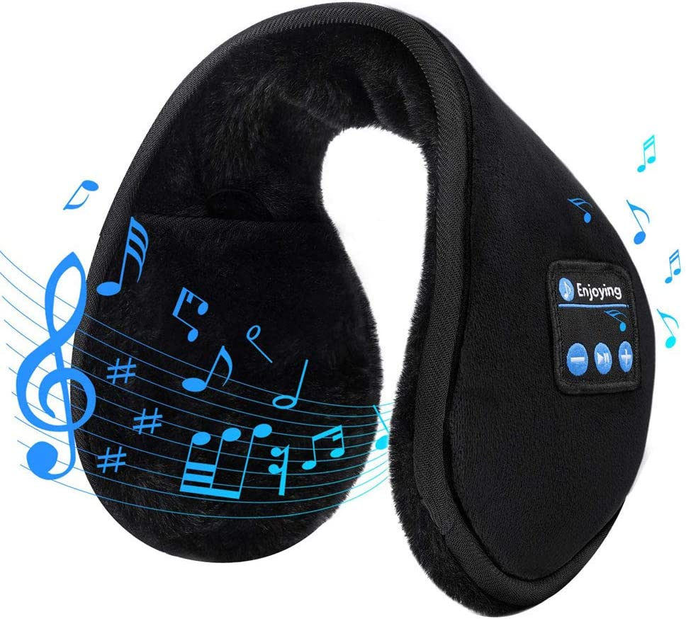 Men Women Wireless Warm Earmuff Bluetooth Headphones Soft Plush Winter Music Ear Warmers for Teens Outdoor Sports Travel