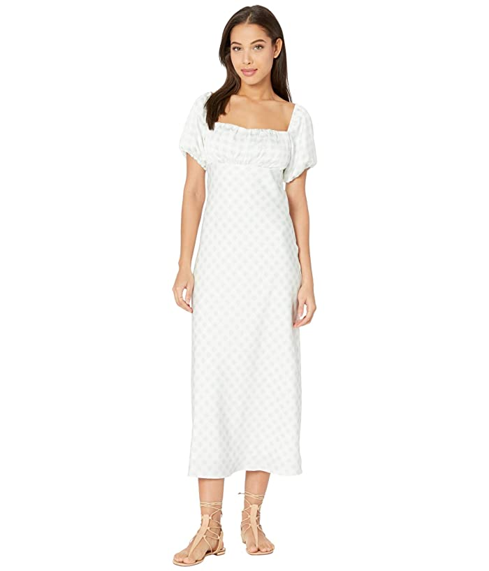 Regency Dress, Shoes | Jane Austen Clothing WAYF Sacha Ruched Bodice Midi Dress Baby Blue Gingham Womens Dress $59.40 AT vintagedancer.com