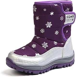 Komfyea Boys Girls Winter High Ankel Fleece Snow Boots Anti-Slip Snow Pattern Middle Boots(Little Child/Kids/Teenagers)