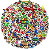 Meet Holiday Super Mario Stickers 100 PCS Cute Cartoon Game Comics Vinyl Waterproof Stickers Kids Room Decor Sticker (Super Mario)