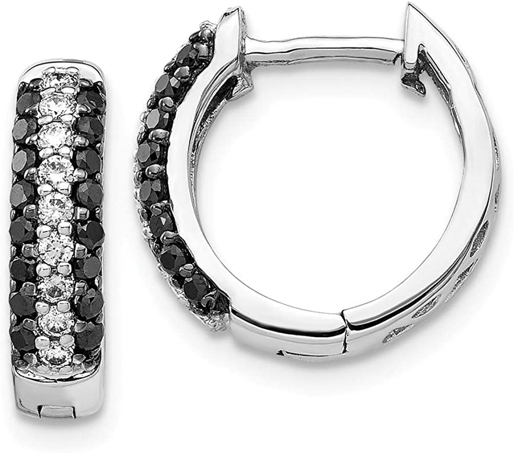Affluent Rock 14k White Gold Black Diamond Over item handling Cheap sale ☆ Hinged and Hoop