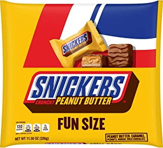 SNICKERS Crunchy Peanut Butter Squared Fun Size Chocolate Candy Bars 11.5-Ounce Bag (Pack of 6)