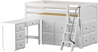 Maxtrix Solid Hardwood Twin-Size Low Loft Bed with Ladder Entry, Student Desk and 2 Cube Dressers, White Finish