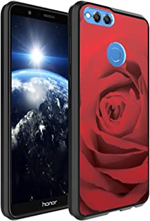 Huawei Honor 7X Case, Capsule-Case Hybrid Slim Hard Back Shield Case with Fused TPU Edge Bumper (Black) for Huawei Honor 7X - (Red Rose)