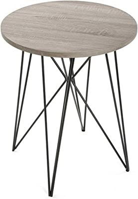 Versa Aurora Table d'appoint, Bois, Marron/Noir, 50x 50x 60cm